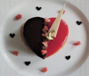 Vegan chocolate heart dessert